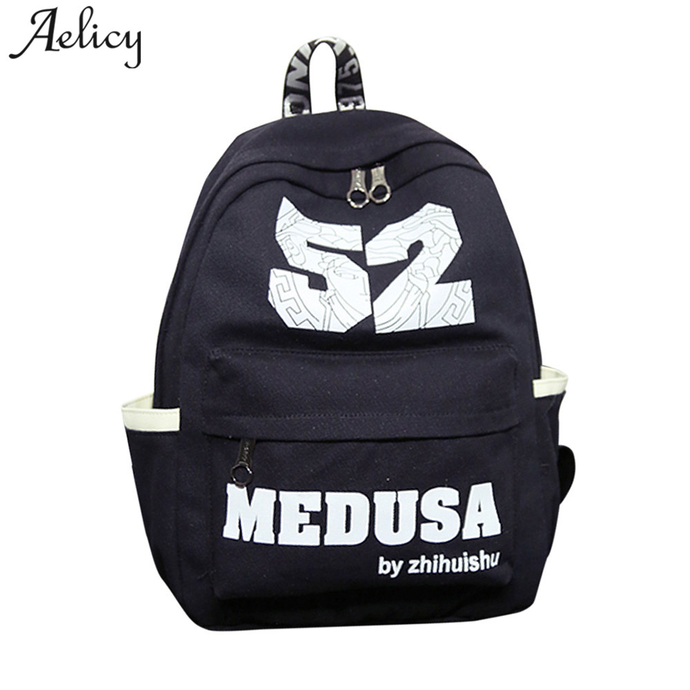 8a12f3812aa7 Detail Feedback Questions about Aelicy Unisex Men Vintage Canvas Backpacks  Rucksack School Backpack Women Black Letter School Bags for Teenage Girls  Mochila ...