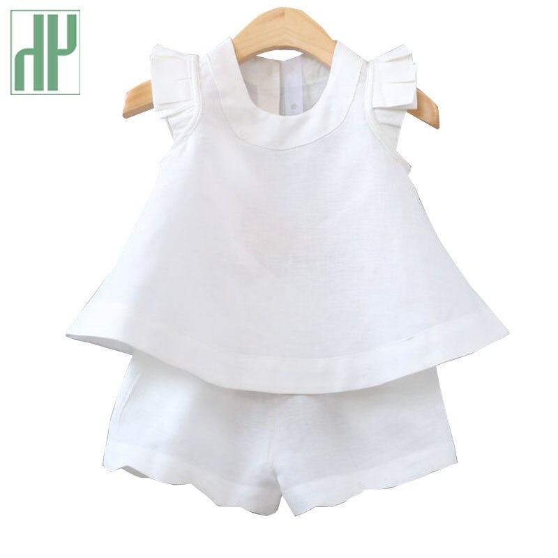 Crianças roupas Crianças roupas Casuais O-pescoço blusa sem mangas T-Shirt + Calças da criança meninas roupas de verão definir 3 ~ 7 anos de idade