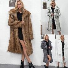De moda de invierno de mujer abrigo de piel de imitación para abrigos de piel de las mujeres de manga completa de piel falsa abrigos para mujeres Casual caliente Outwear