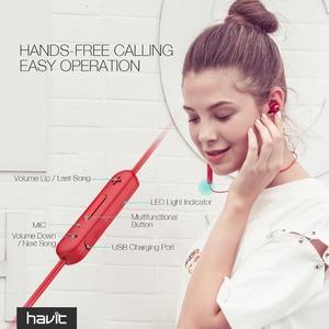 Image 4 - HAVIT 블루투스 이어폰 스포츠 이어 버드 땀이 나지 않는 IPX5 방수 V4.2 마이크가있는 자기 이어폰 10 시간 재생 I39