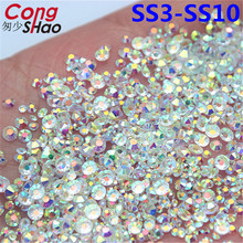 Cong Shao Mix Sizes Transparent Stone SS3-SS10 Glass Gem Clear AB 3D Nail Rhinestones,1440Pcs Flat Back Non Hotfix Crystal YB992