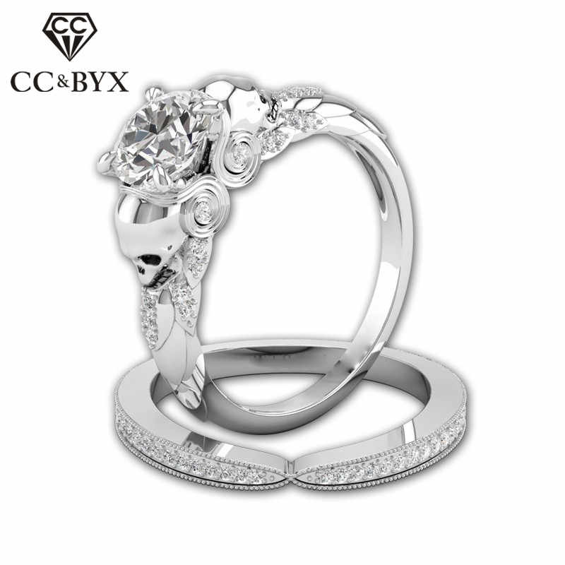 CC Skull Set Rings For Women Fashion Jewelry Lover Couple Ring Creative Bijoux Femme Party Gift Accessories CC2069