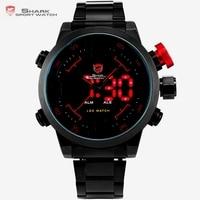 SHARK Analog Digital LED Stainless Full Steel Black Red Date Day Alarm Men S Sports Outdoor