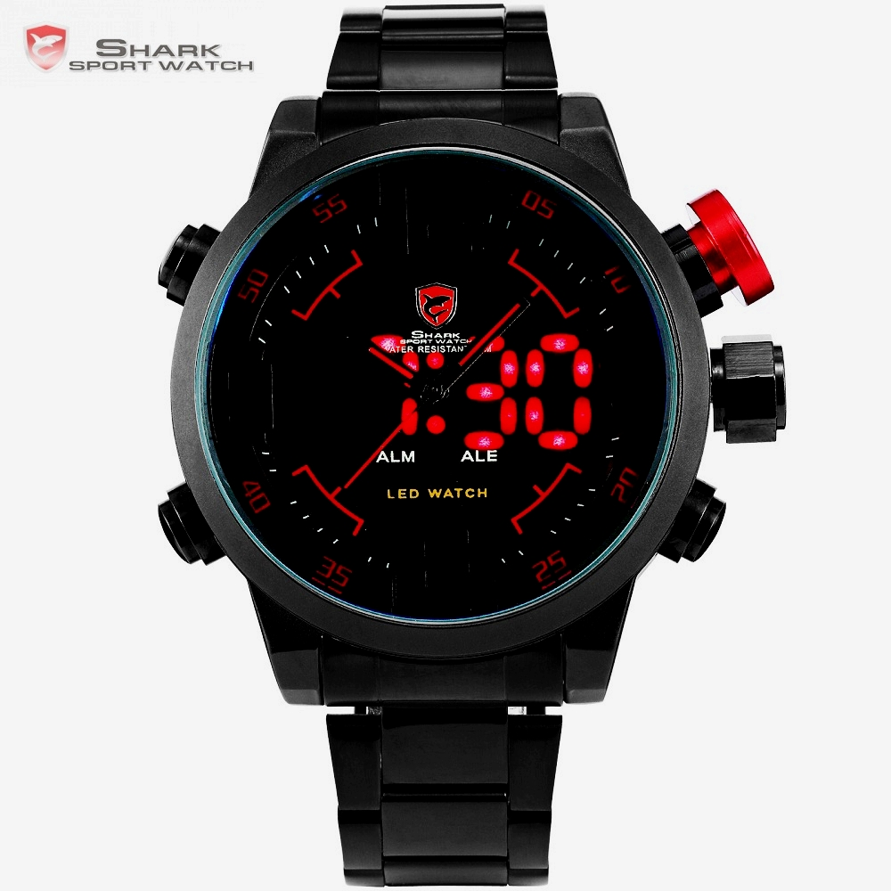 Gulper SHARK Sport Watch Digital LED Men Top Brand Luxury Black Red Calendar Steel Band Wrist Quartz Watches Reloj Hombre /SH105 women watches wen reloj hombre sport high quality boys girls students time clock electronic digital lcd wrist sport watch 2