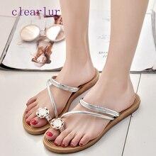 купить Rhinestone toe ring summer sandals female hot sale fashion open toe flat slippers beach shoes C0293 по цене 593.3 рублей