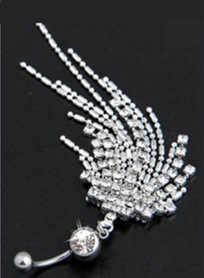לשני המינים גברים נשים פנינה כפולה גביש לערבב פירסינג תכשיטי גוף טבור טבור טבעת נירוסטה תכשיטי טבור טבעת פירסינג