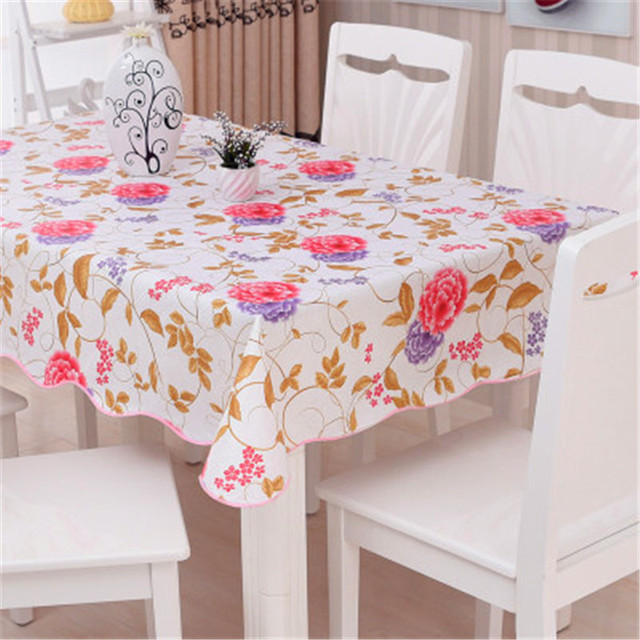 1Pcs Fashion Square Rural Printing PVC Thickening Tablecloth Lace Tablecloth  Waterproof And Oil Table Cloth Tea
