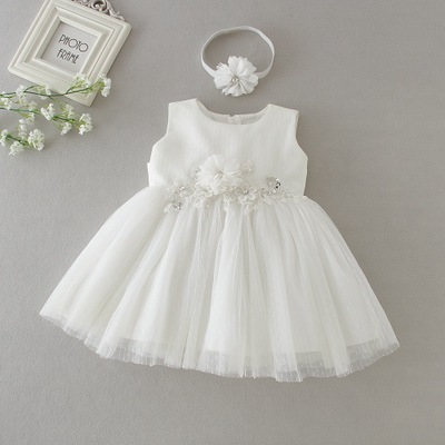 2018 Baby Girl Party and Wedding Dress White Christening Dress for Toddler Girl 1st Birthday Party tutu Dress Baptism Lace Dress music note party swing dress