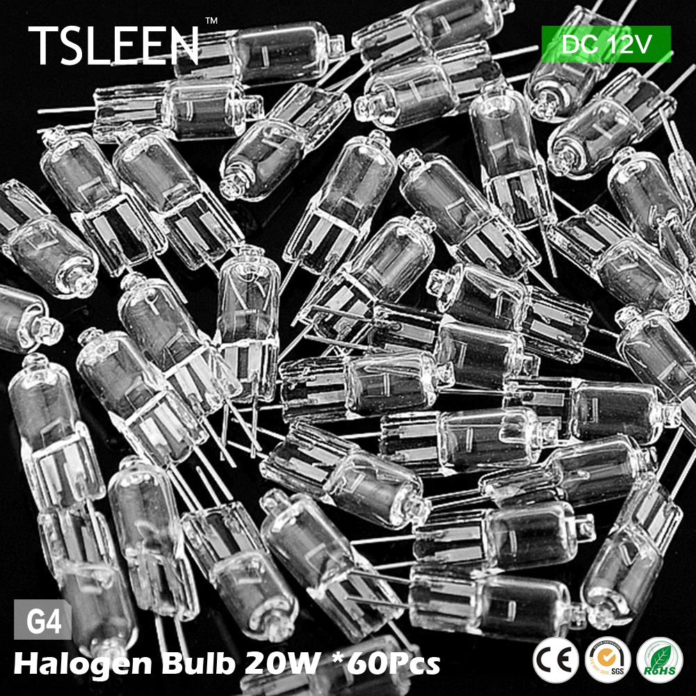 Cheap 60pcs 20 Watt Energy Saving Light Bulb Tungsten Halogen Lamp DC 12V G4 Base Clear Lights Two-Pin