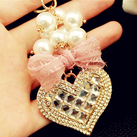 Super Beautiful Quality Crystal Heart Bag Key Chain Gift Accessory Purse Charm Hand Bag Key Chain for Girlfriend