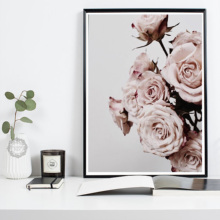 Flower Pink Peony Nordic Wall Art Canvas Poster and Print Flowers Painting Picture for Living Room scandinavian Decor