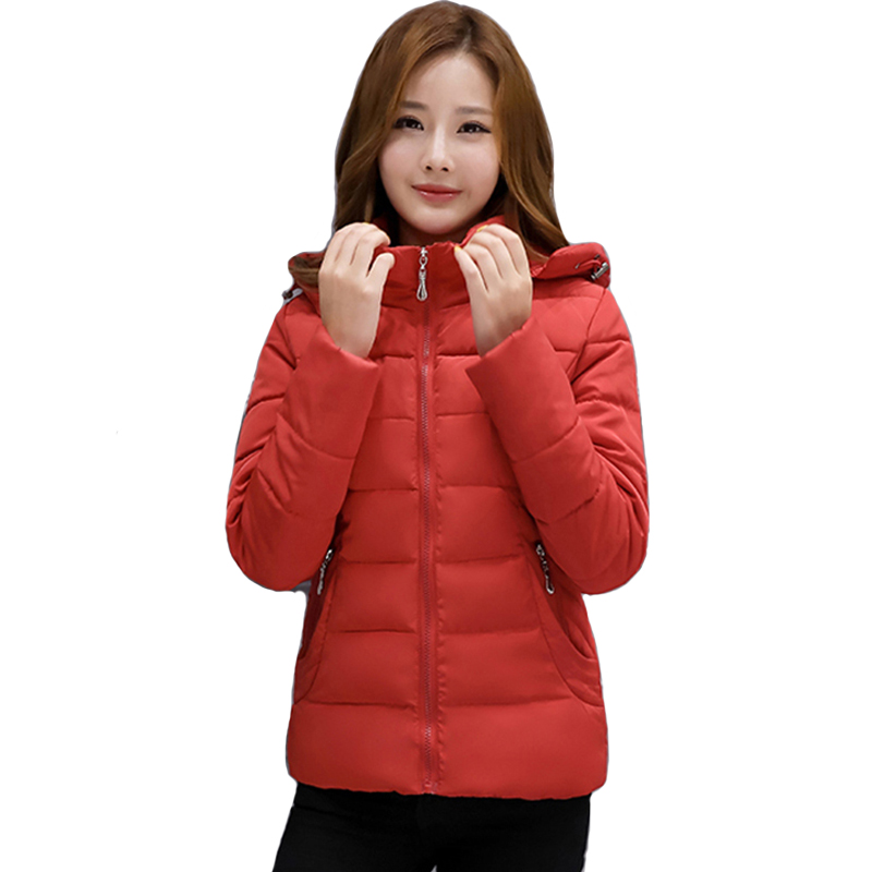 2019 Casual Winter   Jacket   Women Hooded Solid Color Padded Female Coat Outwear Short Womens   Basic     Jacket   Casaco Feminino Inverno