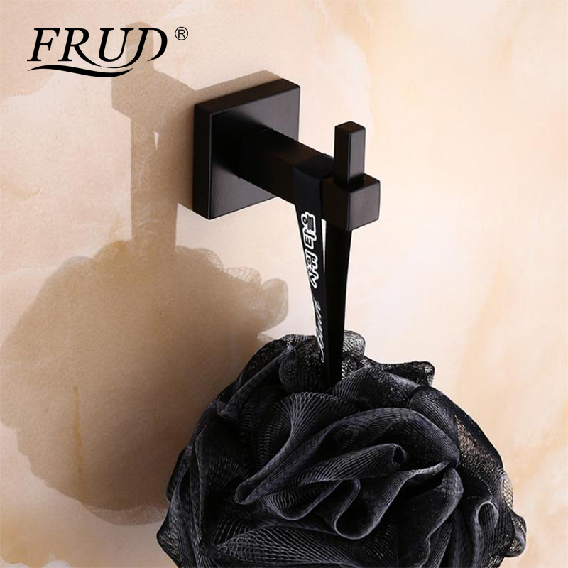 Frud Black Clothes Hook Bathroom Wall Hanger Square Single Clothes Hook Bedroom Door Hanger Vintage Towel Hook Coat Rack Y38032 Relieving Heat And Thirst. Home Improvement