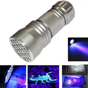 New UV Ultra Violet 21 LED Flashlight Mini Led Lamps Blacklight Detection Torch Light Lamp Use 3 x AAA Alkaline Batteries