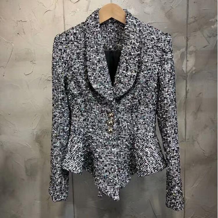 Zielstrebig 2018 Herbst Neue Frauen Tweed Rüschen Blazer Mantel Rock Milu Frauen Kleidung & Zubehör Anzüge & Sets