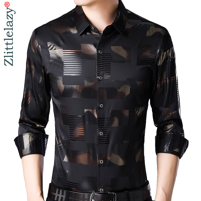 2019 Brand Casual Spring Luxury Plaid Long Sleeve Slim Fit Men Shirt Streetwear Social Dress Shirts Mens Fashions Jersey 2306
