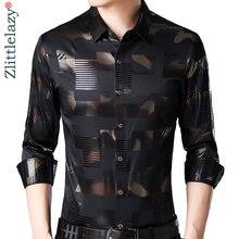 2019 brand casual spring luxury plaid long sleeve slim fit men shirt streetwear social dress shirts mens fashions jersey 2306
