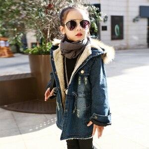 Image 2 - ילדים דנים מעילי בנות החורף לילדים בתוספת עבה מעיל רוח מעיל ברדס חם הלבשה עליונה ארוך Jacket ז אן מעיל בגדים