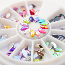 120pcs/box Colorful Rhombus Nail Studs 3D Nail Decoration In Wheel For UV Gel Nail Art