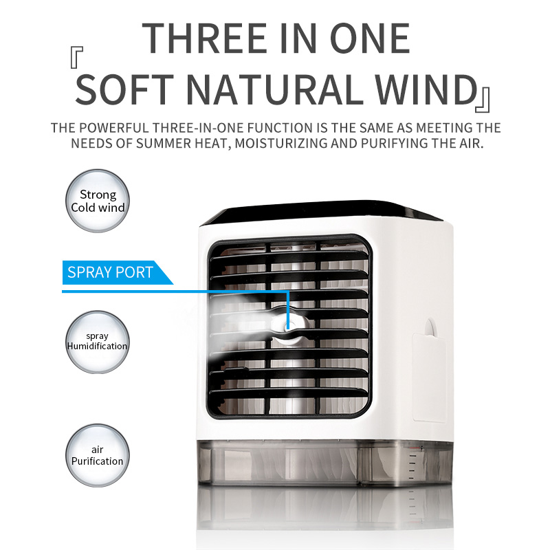 Multifuction Mini Air Cooler Humidifier Purifier 480mlL LED Night Light 7 Colors Air Cooling Fan USB Portable Air Conditioner