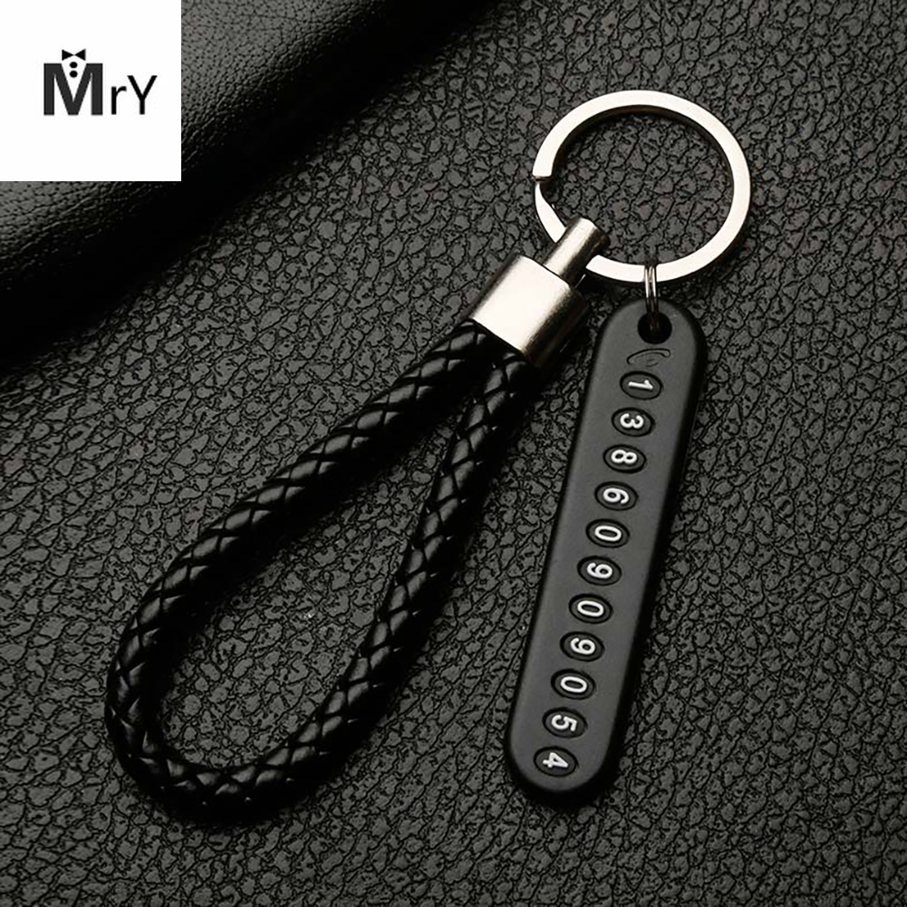 Anti-lost Phone Number Plate Car Keychain Pendant Auto Phone Card Keyring E Ec