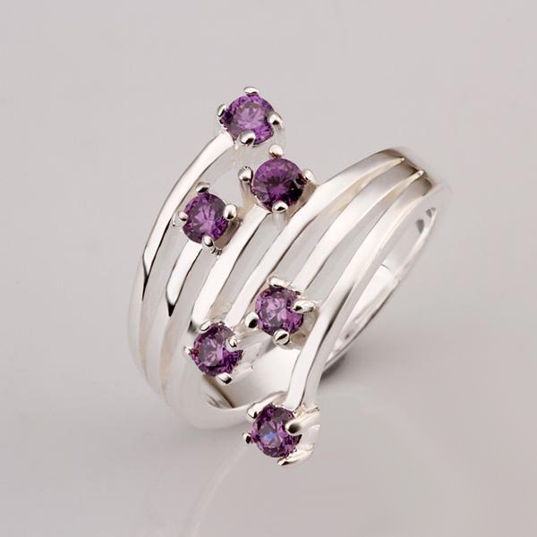 Hot Silver Ring With Crystals Pave Purple Cubic Zircon Stone Nickel Free mix colors Jewelry full size