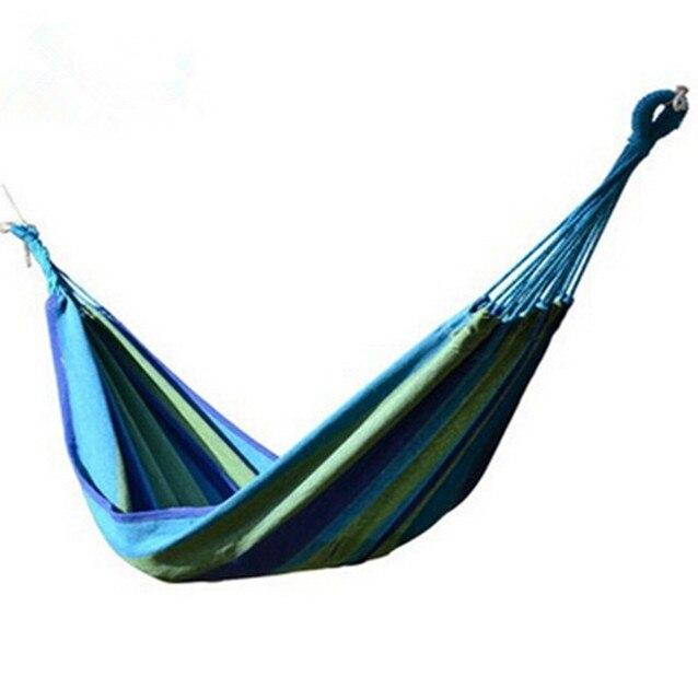 High Quality Outdoor Hammock Garden Hang Swing Canvas Stripe Hamaca Travel Camping Hammock Portable Straps Outdoor Furniture