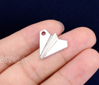60pcs Paper Airplane Charms Antique Silver Paper Air Craft Charms Pendant 18x17mm