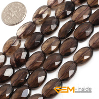 10X14MM Oval Faceted Smoky Quartz Beads Natural Stone Beads Loose Bead For Jewelry Making Strand 15