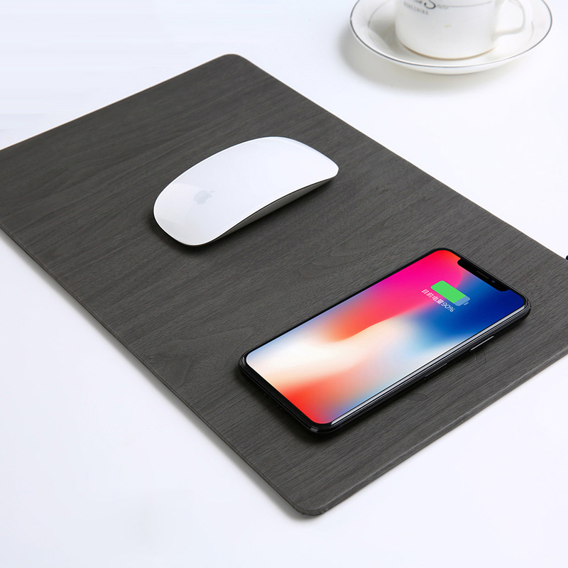 Fast Wireless MousePad Charger,2 in 1 Mouse Pad/Mat Wood With Wireless Charger for iPhone X iPhone 9 8/8 9Plus Samsung Note 8/S9 image