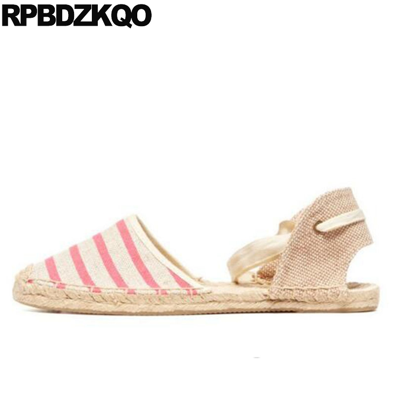 ankle strap hemp cloth women canvas espadrilles fisherman striped lace large size slingback up high quality luxury shoes ropeankle strap hemp cloth women canvas espadrilles fisherman striped lace large size slingback up high quality luxury shoes rope