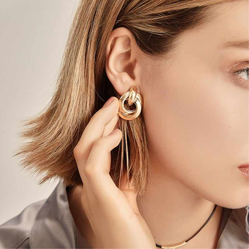 Vintage Geometric Metal Earrings ZA Sequin Stud Earrings for Women Gold Silver Fashion Female Statement Jewelry Gift Wholesale