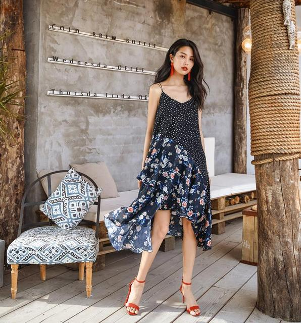 Summer Dress 2018 Women Printed V Neck Sleeveless Sundress Loose Medium Long Beach Bohemian Casual