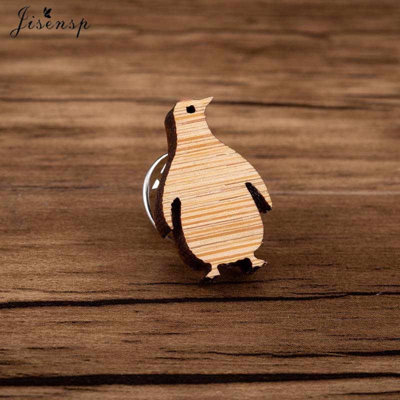 Jisensp Terbaru Indah Penguin Bentuk Hewan Bros Kayu Perhiasan Pin untuk Wanita Anak Anak Sweater Scarf Suit Kerah Pin