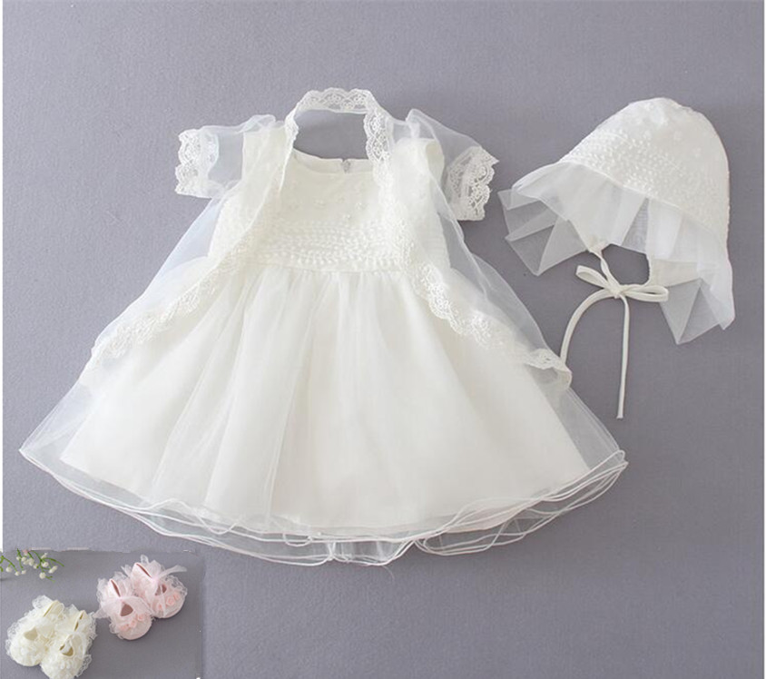 Christening Gowns From Wedding Dresses: Newborn Christening Gown Party Wedding Dress With Bonnet