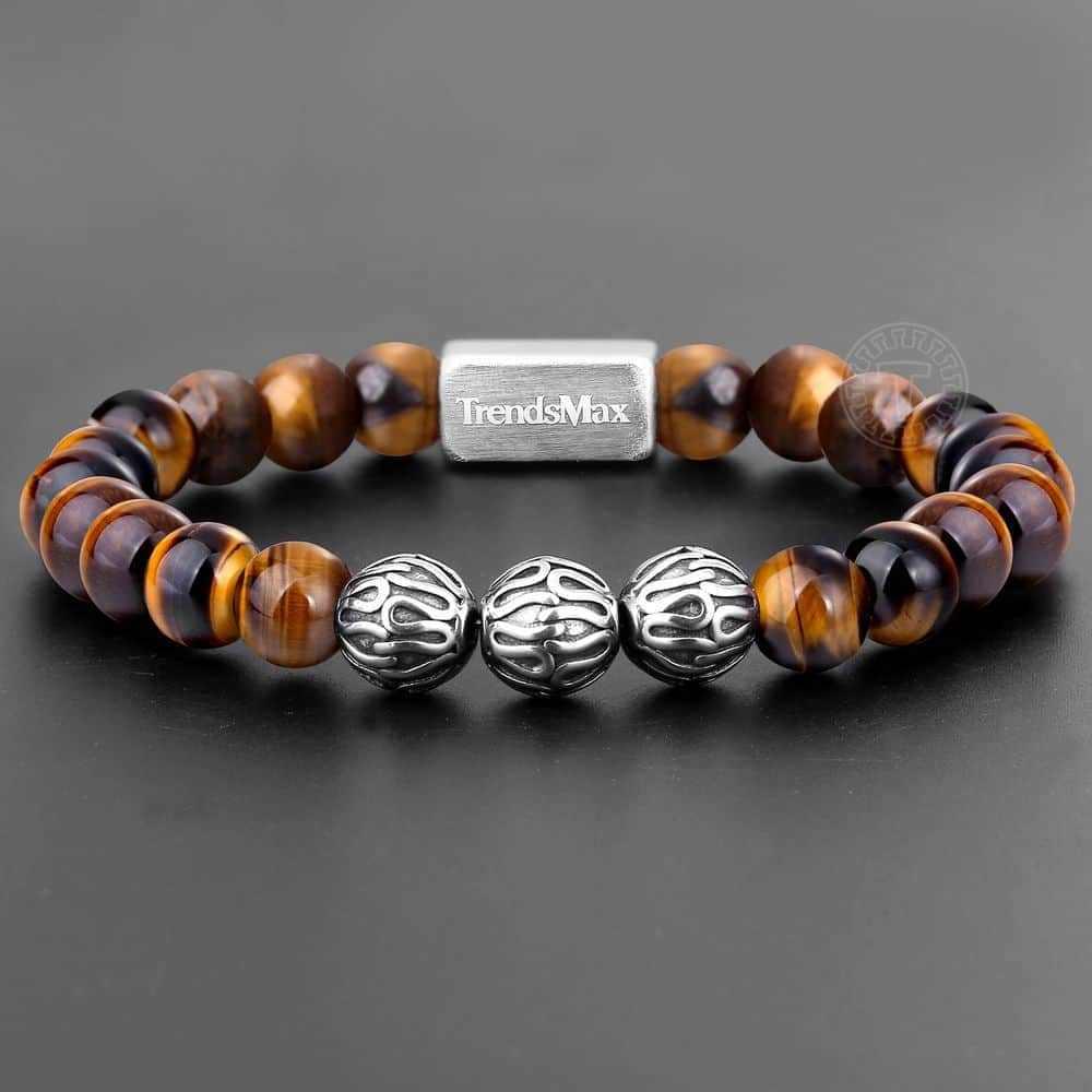 Trendsmax 8MM Tiger Eye Beaded Bracelet Women Men Natural Stone Stretch Stainless Steel High Grade Yoga Jewelry Gift TBB006