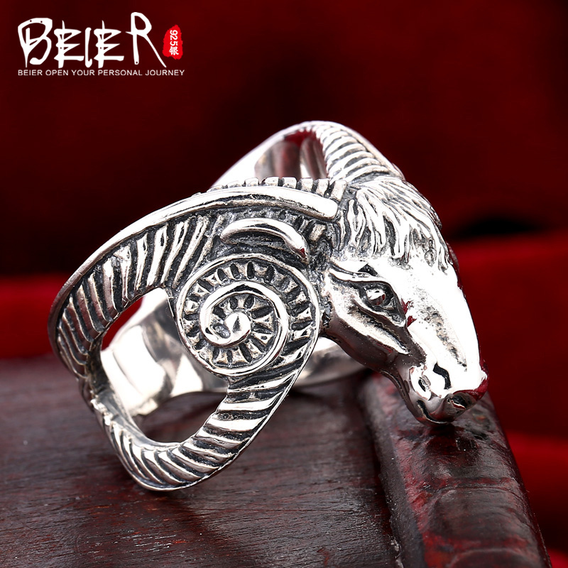 Beier 925 silver sterling jewelry 2015 fashion animal ring terse style sheep man ring D1037 beier 925 silver sterling jewelry2015 punk animal ring hailand four hands inlaid gems elephant man ring d0711