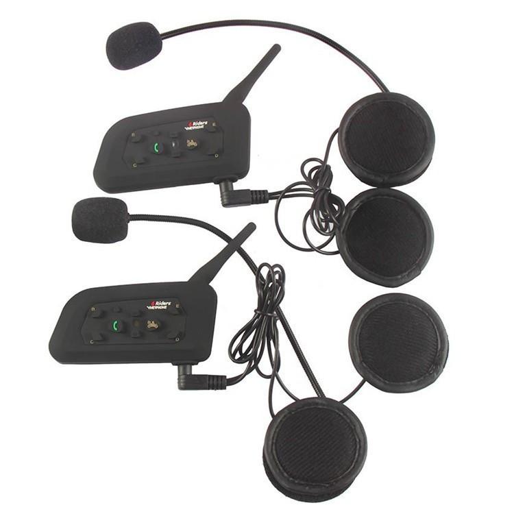 1PCS V4+2 Pcs V6 Motorcycle Helmet Bluetooth Intercom System BT Stereo Interphone Handsfree Headset for 3 Riders Group Chat (5)
