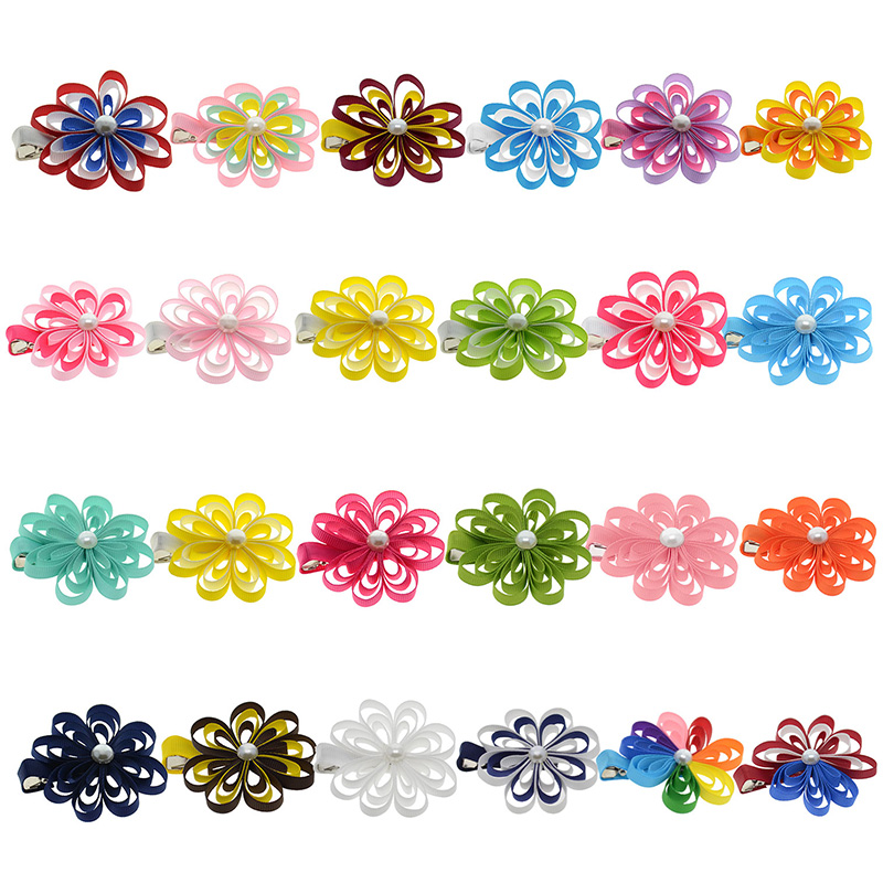 24PCS 2-2.5 Hair Bows For Girls Kids Cute Hairpin Grosgrain Ribbon Flower Hair Clip Barrettes Korean Hair Accessories 10pcs lot high quality hair band with grosgrain ribbon flower for girls handmade flower hairbow hairband kids hair accessories