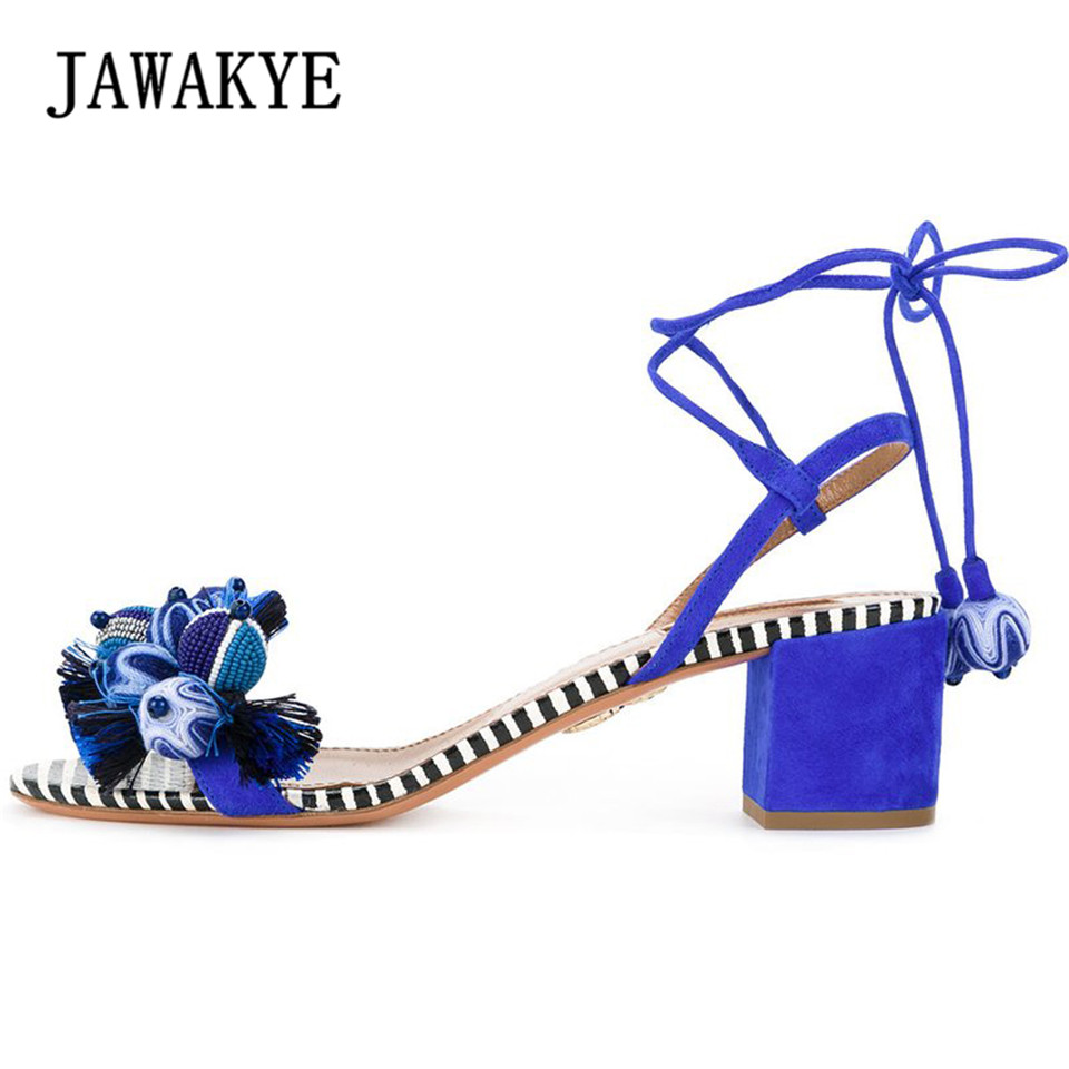 JAWAKYE Summer Women Sandals Shoes Middle Square Chunky Heel Circle pellets Tassel Lace up Ladies casual comfortable Sandals