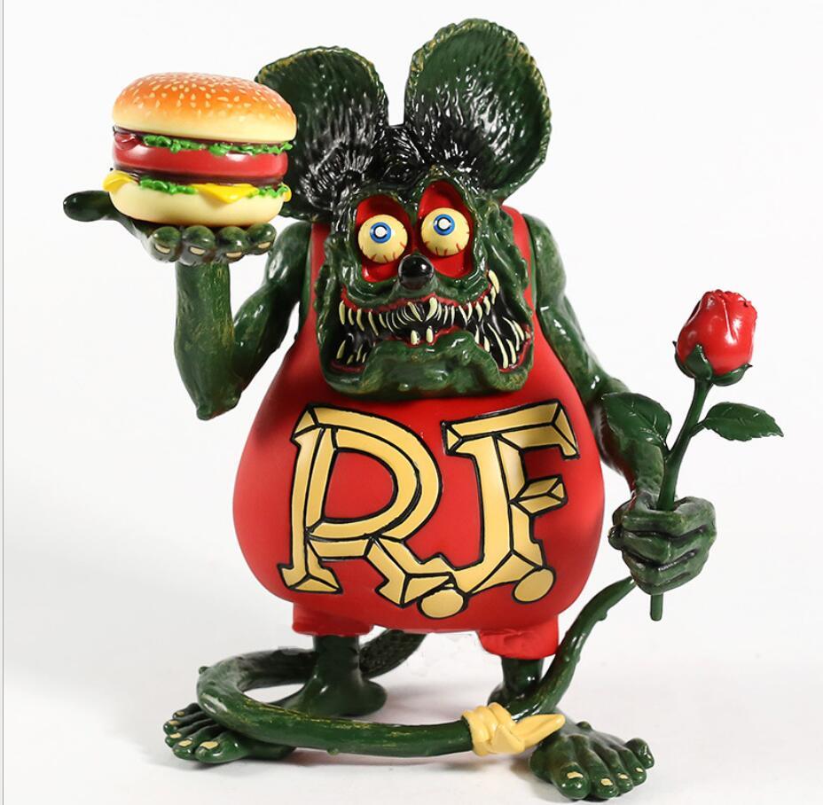 Dans une nouvelle boîte de dessin animé Rat Fink Hamburger & Rose PVC mobile Collection de jouets et de poupée cadeaux 21cm