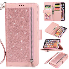Glitter Zipper Wallet Case For iPhone X Xr Xs Max 6 6S 7 8 Plus Card Slot Cover For Samsung S10 S8 S9 Plus S10e Note 8 9 10 Pro multifunction woven pattern zipper wallet case for samsung note 10 8 9 s8 s9 s10 plus s10e for iphone xs max xr x 6 6s 7 8 plus