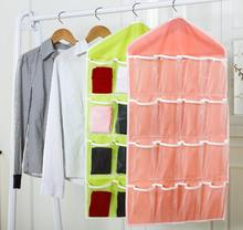 New Candy Color Transparent Wardrobe Underwear Hanging Bag Folding Storage Storange Box #WL099
