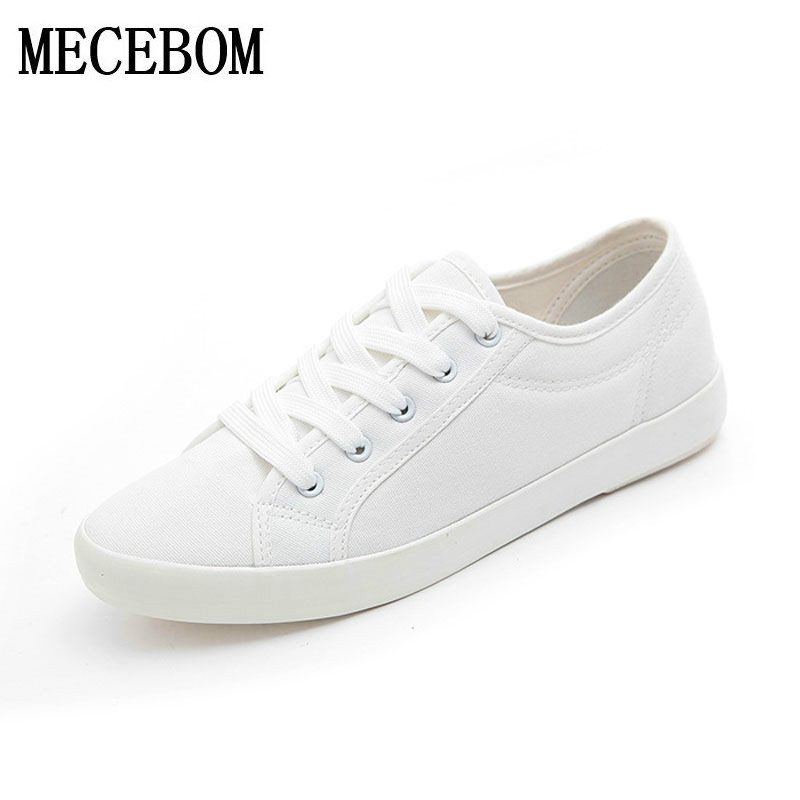 2017 Fashion Women White Canvas Shoes Concise Low Top Casual Flat Student Shoes Lace Up Solid Canvas Women Shoes footwear C030W e lov women casual walking shoes graffiti aries horoscope canvas shoe low top flat oxford shoes for couples lovers