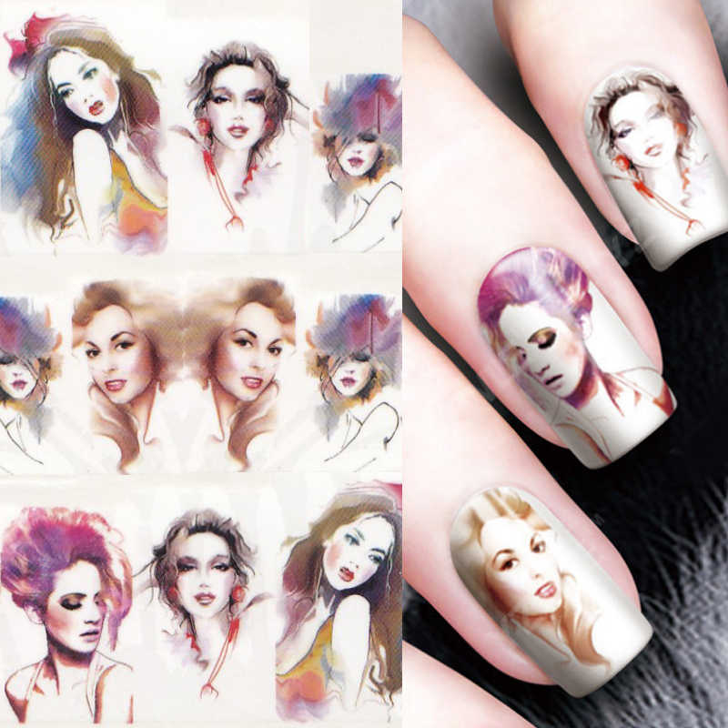 1 Lembar Air Transfer Nail Art Sticker Decal Fashion Wanita 3D Cetak Desain Manikur Tips DIY Kuku Foil Dekorasi 8189