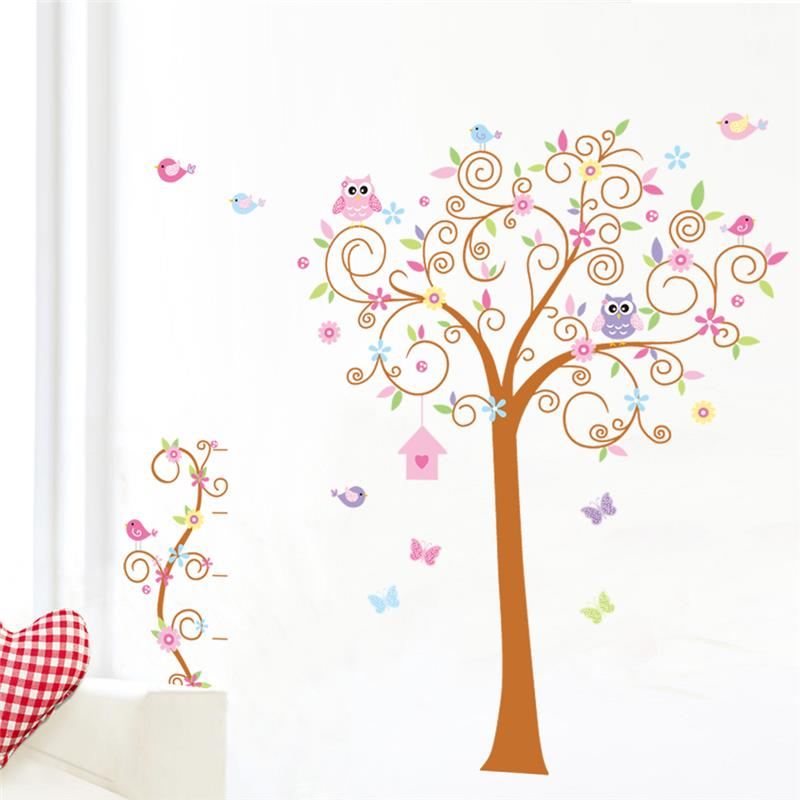 fantastic owls flowers tree wall decal hot sell 7250. home decorations diy pvc removable cartoon stickers for kids bedroom 3.5
