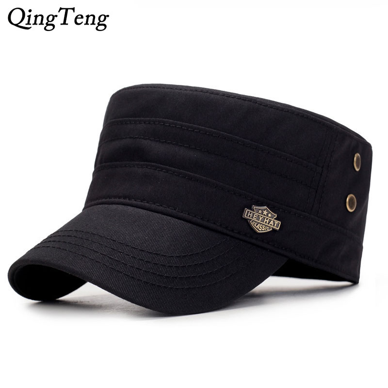 Solid Color Black   Cap   For Men Cotton Luxury Brand   Baseball     Caps   Outdoor Sports Flat Top Hat Unisex Adjustable Male Army   Cap   Dad