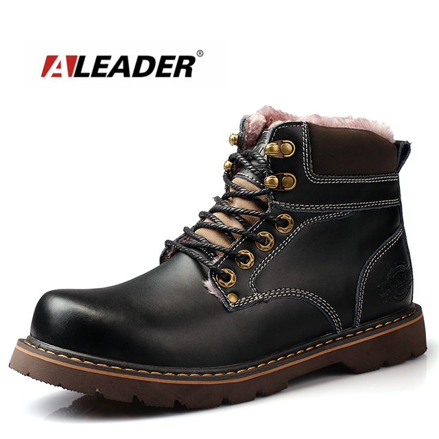 7e76a57d03e Aleader New High Quality Snow Boots Men Waterproof Work Boots Rubber Outdoor  Mens Shoes Casual Black Combat Boots For Men Botas