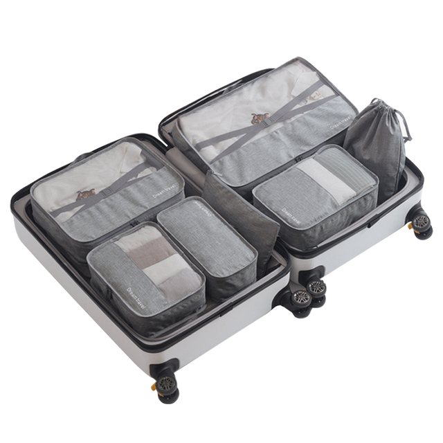 343014c101c7 US $18.24 36% OFF|7Pcs/Set Packing Cubes Travel Luggage Organizer  Waterproof Compression Large Shoes Suitcase Mesh Cube Set Travel Organizers  330-in ...