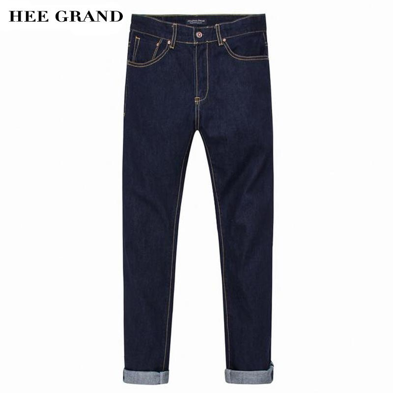 HEE GRAND New Design Straight Jeans Men Fashion Classical Scretched Slim High Quality Demin Trousers Size 28-36 MKN929 hee grand 2017 spring summer men jeans full length business style slim fitted straight denim trousers plus size 29 40 mkn960